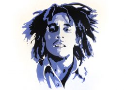 Wandgestaltung Wohnzimmerwand, Wandtattoo, Bob Marley, ca. 150 x 170 cm