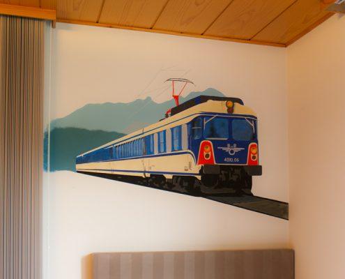 """Schlafzimmer, Wandtattoo """"ÖBB Br. 4010"""", ca. 140 x 90 cm"""