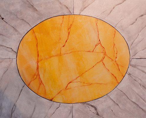 Marmorimitation mit Einfassung - gelber Marmor: Valencia Gelb; Einfassung: Fantasiemarmor