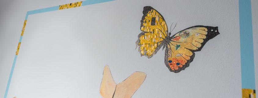 Wandgestaltung Bibliothek, Schmetterling